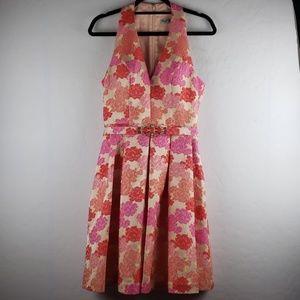 ELIZA J Floral Brocade Belted Sleeveless Dress